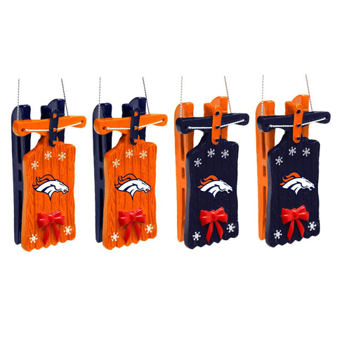 Denver Broncos Christmas Ornaments - Set Of 4 -Sleigh Hanging