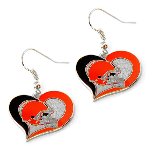 Cleveland Browns Earrings - Swirl Heart Dangle Earrings