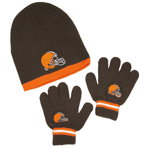 Cleveland Browns Gloves - Kid's Knitted Winter Hat And Gloves Set