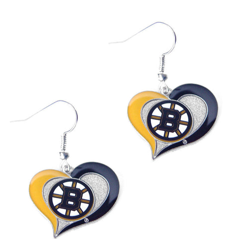 Boston Bruins Earrings - Swirl Heart Dangle Earrings