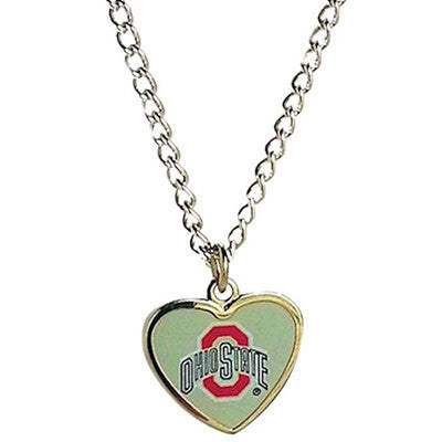 Ohio State Buckeyes Logo Heart Necklace
