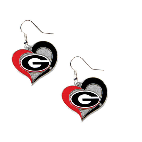 Georgia Bulldogs Earrings - Swirl Heart Dangle Earrings