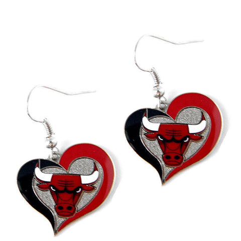 Chicago Bulls Earrings - Swirl Heart Dangle Earrings