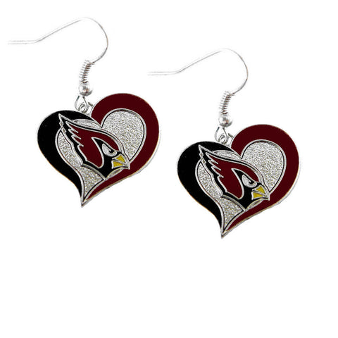 Arizona Cardinals Earrings - Logo Swirl Heart Dangle Earrings