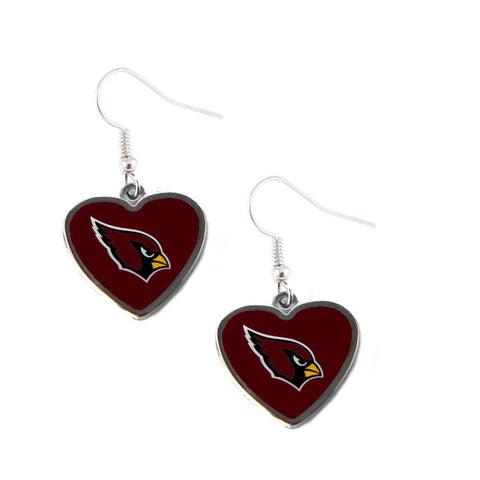 Arizona Cardinals Earrings - Logo Heart Dangle Earrings
