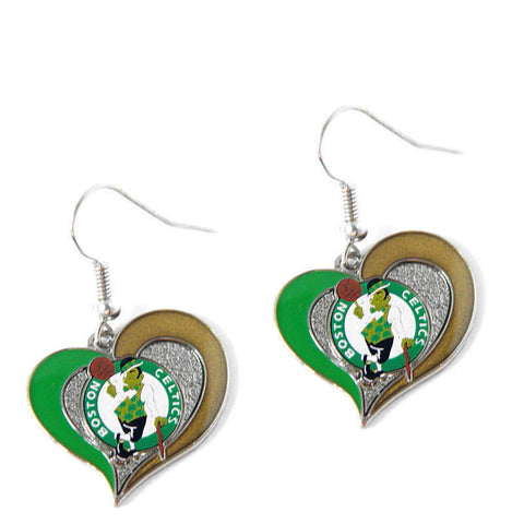 Boston Celtics Earrings - Swirl Heart Dangle Earrings
