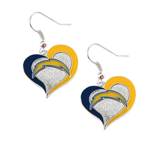 Los Angeles Chargers Swirl Heart Dangle Earrings