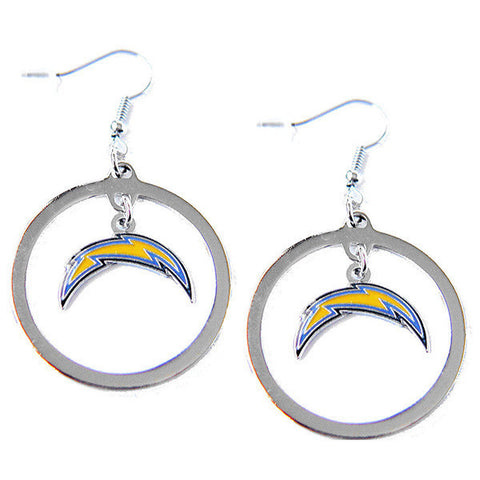 Los Angeles Chargers Hoop Logo Dangle Earrings