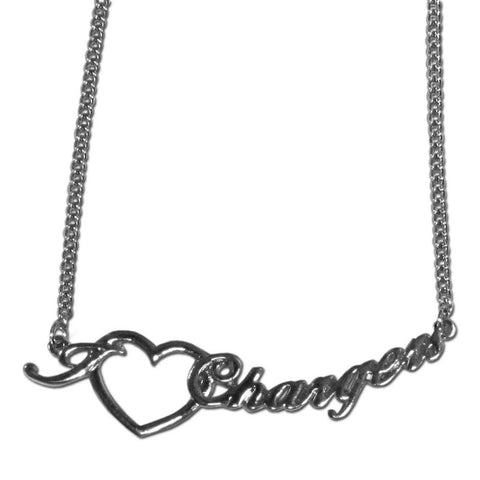 Los Angeles Chargers Heart Script Necklace