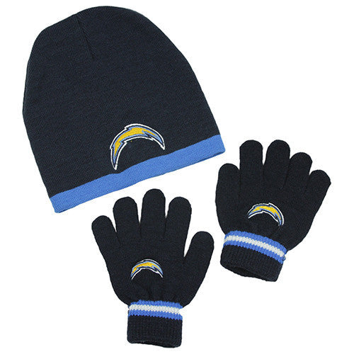 Los Angeles Chargers Gloves - Kid s Knitted Winter Hat And Gloves Set 5eb92dde8a0