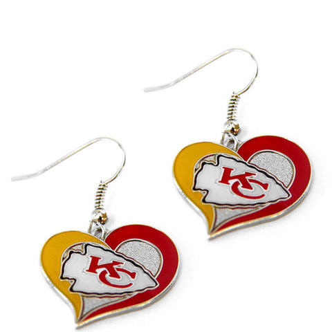 Kansas City Chiefs Earrings - Swirl Heart Dangle Earrings