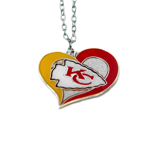 Kansas City Chiefs Necklace - Swirl Heart Logo Necklace