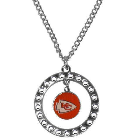 Kansas City Chiefs Necklace - Rhinestone Hoop Necklace