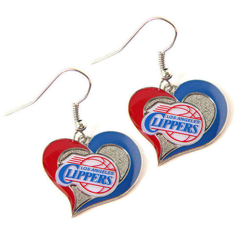 Los Angeles Clippers Swirl Heart Dangle Earrings