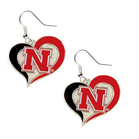 Nebraska Cornhuskers Swirl Heart Dangle Earrings