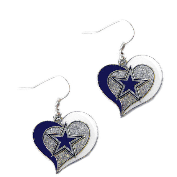 Dallas Cowboys Earrings - Swirl Heart Dangle Earrings