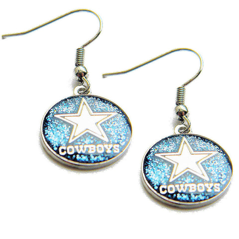 Dallas Cowboys Earrings - Glitter Logo Dangle Earrings