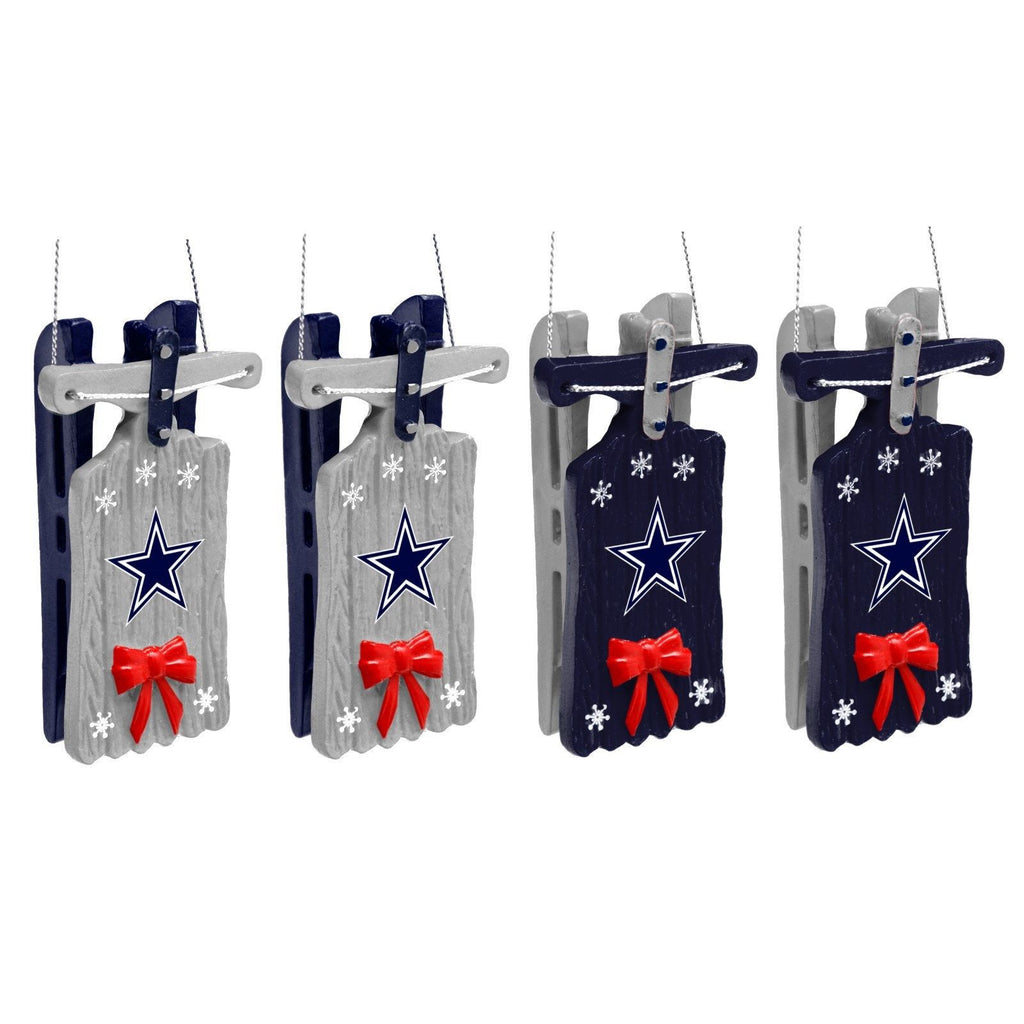 Dallas Cowboys Christmas Ornaments - Set Of 4 -Sleigh ...