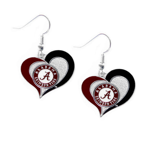 Alabama Crimson Tide Earrings - Swirl Heart Dangle Earrings