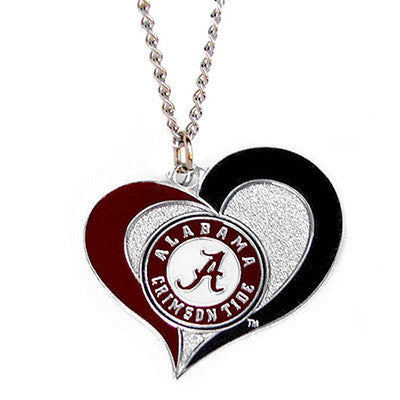 Alabama Crimson Tide Necklace - Swirl Heart Logo Necklace