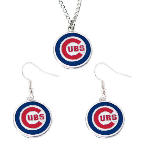 Chicago Cubs Necklace - Logo Charm Necklace & Earrings Set