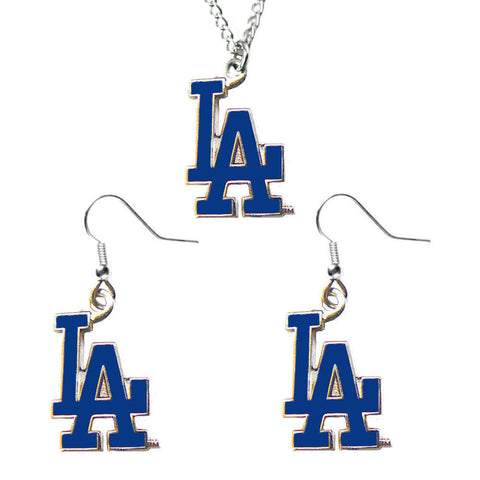 Los Angeles Dodgers Necklace - Logo Charm Necklace & Earrings Set