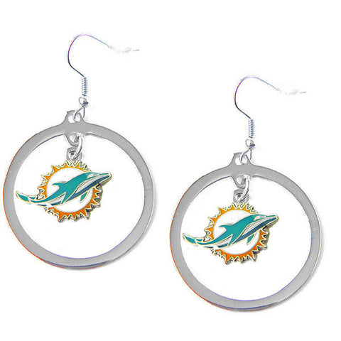 Miami Dolphins Hoop Logo Dangle Earrings