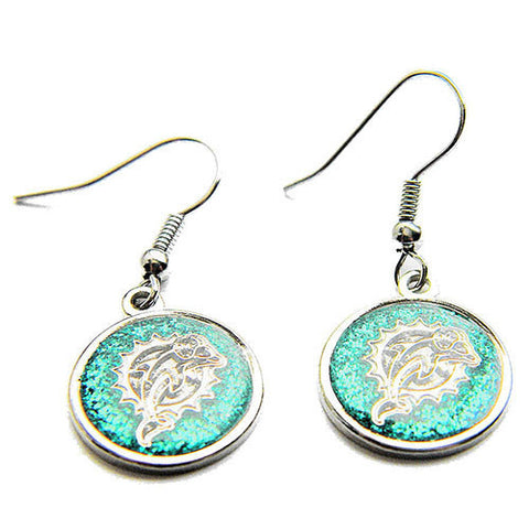 Miami Dolphins Glitter Logo Dangle Earrings