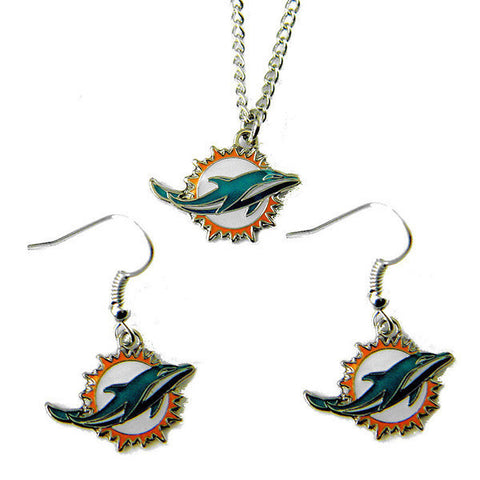 Miami Dolphins Necklace - Logo Charm Necklace & Earrings Set
