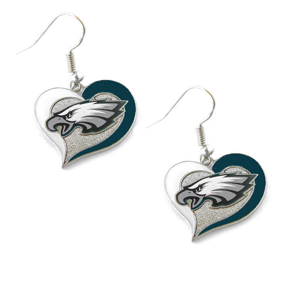 Philadelphia Eagles Earrings - Swirl Heart Dangle Earrings