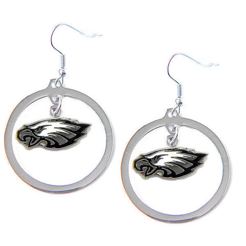 Philadelphia Eagles Earrings - Hoop Logo Dangle Earrings