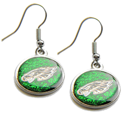 Philadelphia Eagles Earrings - Glitter Logo Dangle Earrings