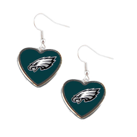 Philadelphia Eagles Earrings - Logo Heart Dangle Earrings