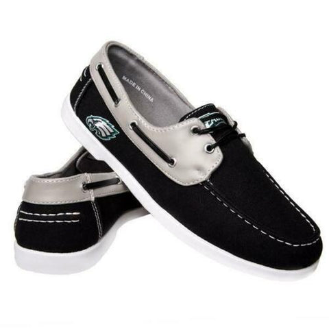 Philadelphia Eagles Shoes - Men's Side Logo Canvas Deck Shoes