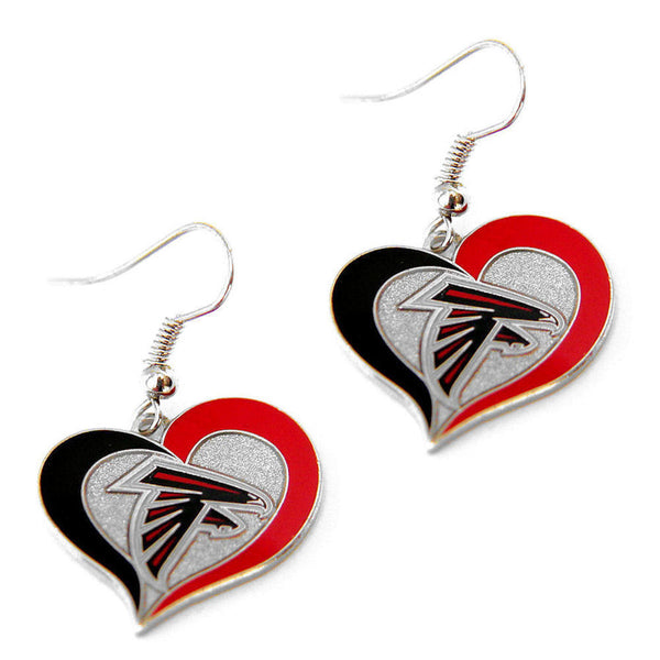 Atlanta Falcons Earrings - Swirl Heart Dangle Earrings