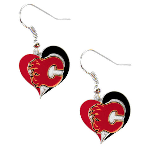 Calgary Flames Earrings - Swirl Heart Dangle Earrings