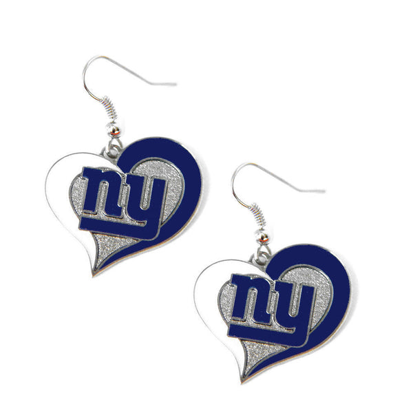 New York Giants Earrings - Swirl Heart Dangle Earrings