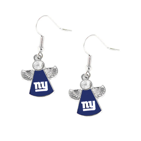 New York Giants Earrings - Crystal Angel Dangle Earrings