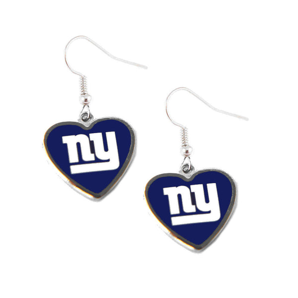 New York Giants Earrings - Logo Heart Dangle Earrings