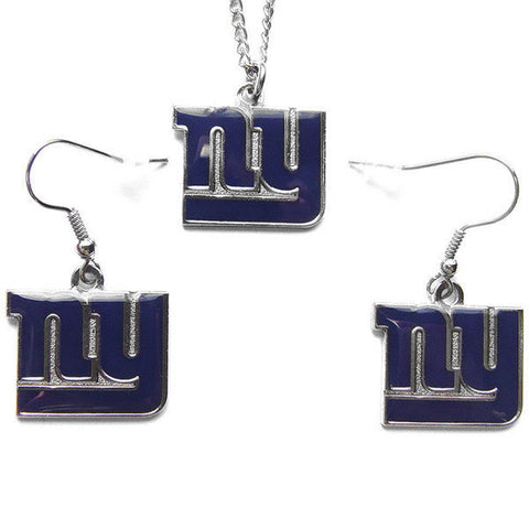 New York Giants Necklace - Logo Charm Necklace & Earrings Set