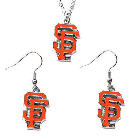 San Francisco Giants Necklace - Logo Charm Necklace & Earrings Set