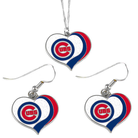 Chicago Cubs Necklace - Glitter Swirl Heart Necklace & Earrings Set