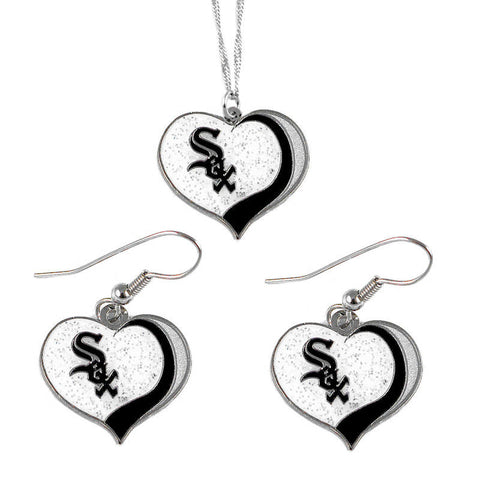 Chicago White Sox Necklace - Glitter Swirl Heart Necklace & Earrings Set