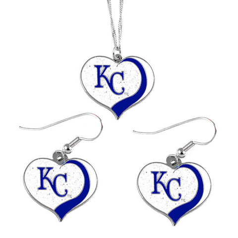 Kansas City Royals Necklace - Glitter Swirl Heart Necklace & Earrings Set