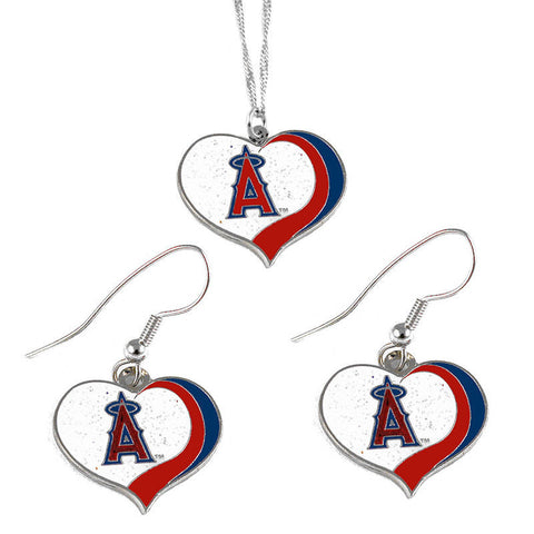 Los Angeles Angels Necklace - Glitter Swirl Heart Necklace & Earrings Set
