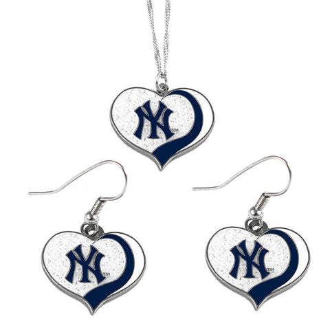 New York Yankees Necklace - Glitter Swirl Heart Necklace & Earrings Set