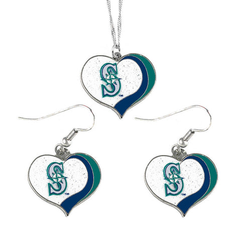 Seattle Mariners Glitter Swirl Heart Necklace & Earrings Set
