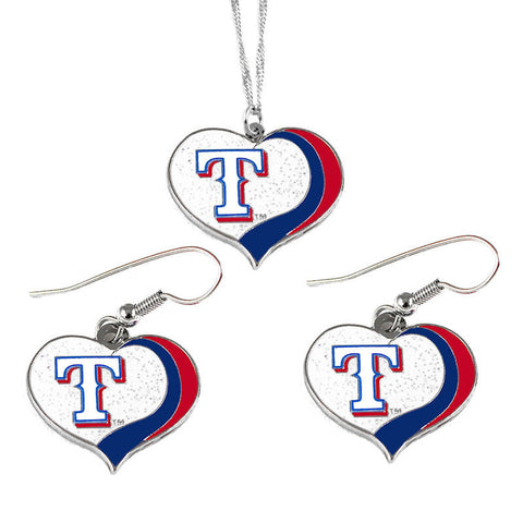 Texas Rangers Glitter Swirl Heart Necklace & Earrings Set