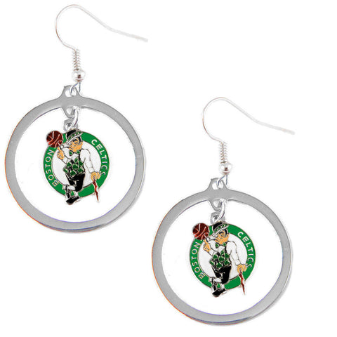 Boston Celtics Earrings - Hoop Logo Dangle Earrings