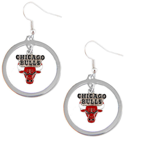 Chicago Bulls Earrings - Hoop Logo Dangle Earrings